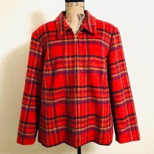 Vintage Red Plaid Full Zip Boxy Wool and Mohair Blazer Shacket Jacket Coat